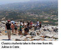 Classics students take in the view of Mt. Jukta in Crete